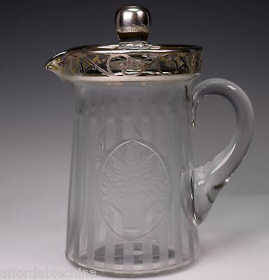 Hawkes or Sinclaire Glass Silver Overlay Cut Crystal Pitcher Flowers Basket