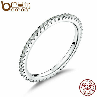 BAMOER Authentic 925 Sterling Silver Ring Dazzling Daisy Stackable Ring Clear CZ