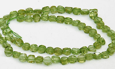 Half Strand Natural Peridot Flat Coin Beads, 6 Mm, Gemstone