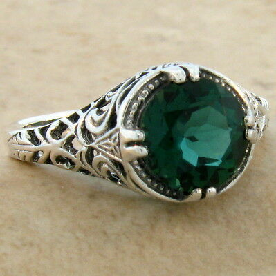 2 Ct Sim Emerald Antique Filigree Design 925 Sterling Silver Ring Size 4.75,#624