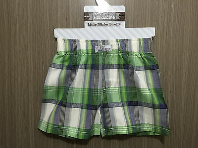 BNWT Baby Boys 6-12 Months Sz 0 Itty Bitty & Handsome Brand Green Checked Shorts