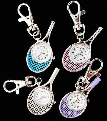 Xmas gifts Wholesale 10 pcs Tennis Racket Key Ring Watches (4 colours) USF23