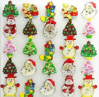 Lot Christmas snowman LED Flashing Light Up Badge/Brooch Pins Christmas T001