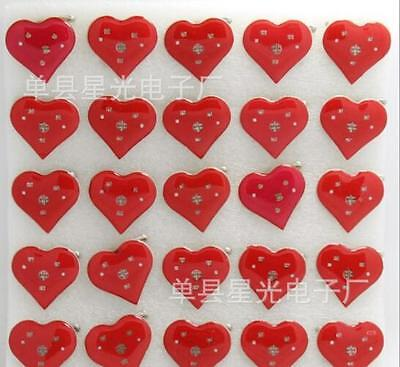 Lot Red Heart shape LED Flashing Light Up Badge/Brooch Pins Christmas T004