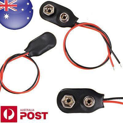 1 x 9V Battery Snap-on Connector Clip with Wire Holder Cable Leads Cord Z434