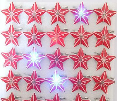 Wholesale Lot Red Star LED Flashing Light Up Badge/Brooch Pins Christmas T018