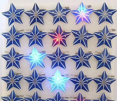 Wholesale Lot Blue Star LED Flashing Light Up Badge/Brooch Pins Christmas T019