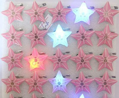 Wholesale Lot Pink Star LED Flashing Light Up Badge/Brooch Pins Christmas T020