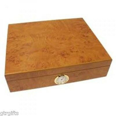 Light Burl Semi Gloss 15 Size Cigar Humidor with Outside Dial