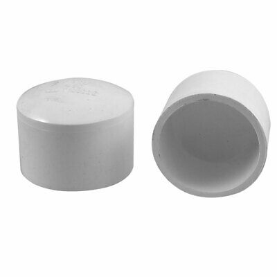 50mm White PVC Hose Tube End Fitting Adapter Caps 2 Pcs