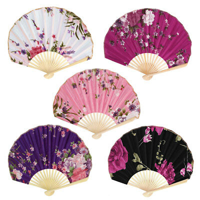 Chinese Style Bamboo Rib Polyester Printed Mini Flower Folding Hand Fan