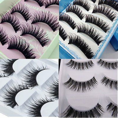 5 Pairs Natural Makeup Thick Eyelashes Soft Long Fake False Eye Lashes Extension