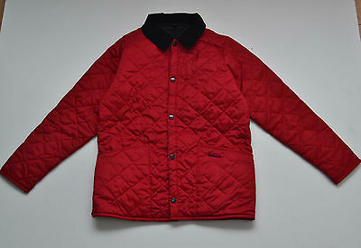 Girls Barbour Quilted Jacket Coat Velvet Collar Red 10 11 Years L Large Exc