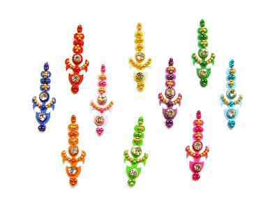 Bright Colored Bindi Crystal Indian Body Stickers 10 Pack