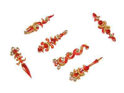 Bright Red Bindi Indian Crystal Body Sticker Jewelry Pack