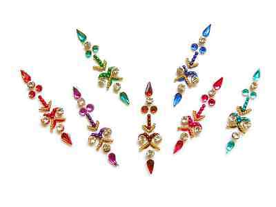 Bright Rainbow Colored Bindi Crystal Indian Body Stickers Pack
