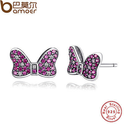 Authentic S925 Sterling Silver Stud Earrings Minnie's Sparkling Bow Colorful CZ