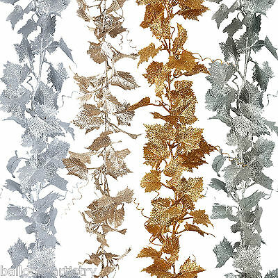 1.8m Deluxe Christmas Party Glitter Sparkle GRAPE Leaf Vine Garland Decoration