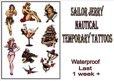 SAILOR JERRY Rockabilly old school navy TEMPORARY TATTOO last 1 week+ waterproof