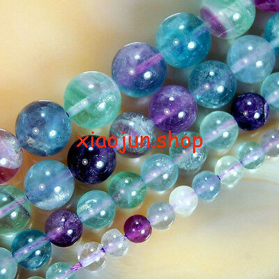 "GENUINE 4,6,8,10,12mm Colorful Fluorite Loose Beads 15"" Choose  Size"
