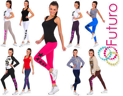 Ladies Full Length Cotton Active Leggings Stars Print Joggers Fitness Pants LG
