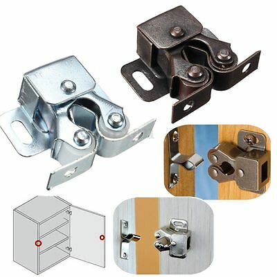 1 Pcs Double Roller Catches Cupboard Cabinet Door Latch Hardware Chrome/Copper