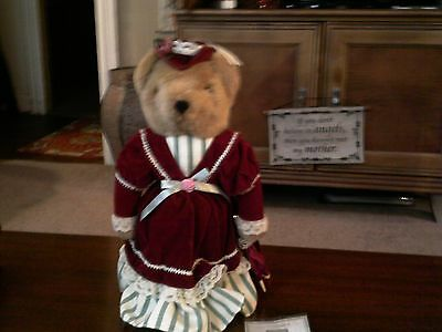 Avon Fine Collectibles Victorian Teddy plush stuffed bear w stand and COA