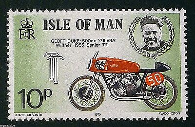 Geoff Duke & 500cc Gilera - Winner 1955 Senior T.T. on 1975 stamp - U/M