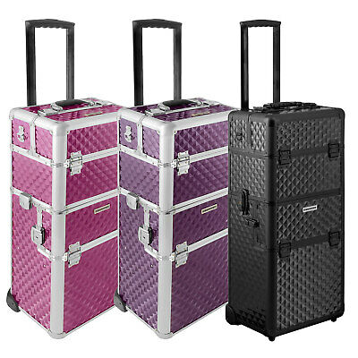 Make-up Koffer Trolley 2 Räder Werkzeugtrolley Friseurkoffer + Tool Beauty Case