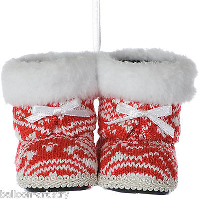 10cm Christmas Party Furry Red & White Knitted Boots Hanging Tree Decorations