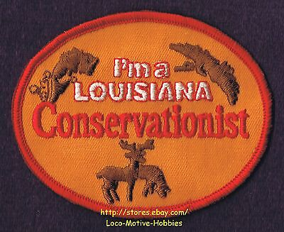 LMH PATCH Badge  I'M A LOUISIANA CONSERVATIONIST Fish Fishing Deer Wildlife Bird