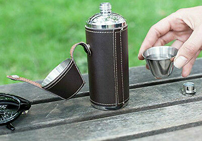 kikkerland CAMPING STAINLESS STEEL FLASK 8 oz leather cover/2 shot glasses BA58