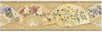 Floral Arrangements on Open Victorian Fans Wallpaper Border VC052203B