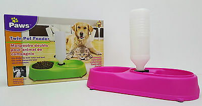 Cat Dog Food Feeder Bowl Dish Automatic Water Dispenser Pet Feeding Station Pink