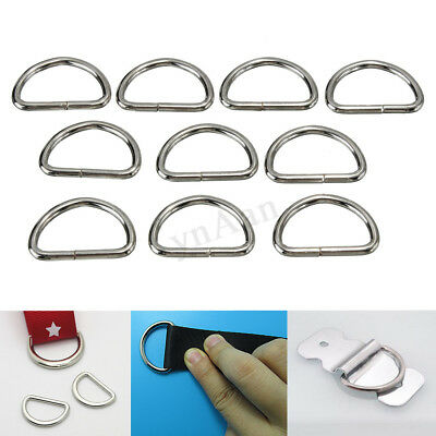 10x Metal 25mm D Ring D-rings Purse Buckles For Clothes Bag Case Strap Web Belt