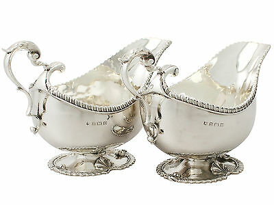 Pair of Sterling Silver Sauceboats - Regency Style - Antique George V - 1929