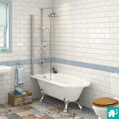 Left & Right Hand P Shaped Shower Bath 1700mm Bath Tub with Shower Screen