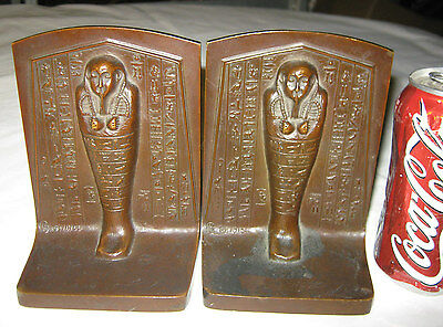Antique 1915 Griffoul Egyptian Revival Art Deco Bronze Statue Sculpture Bookends