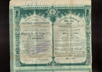 1893 Greece / Turkey Railway Ottoman Salonique Constantinople Salonika Istanbul