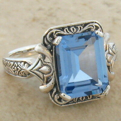 4 CT SIM AQUAMARINE ANTIQUE VICTORIAN DESIGN 925 STERLING SILVER RING Sz 10,#306