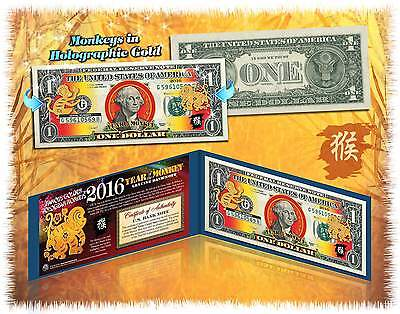2016 Chinese Lunar New Year LUCKY $1 Bill YEAR MONKEY Gold Hologram w/BLUE FOLIO
