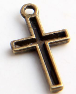 56Pcs Ancient Bronze Cross Charms Pendants 12x22mm(Lead-free)
