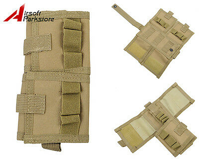 Military Tactical Shotgun Shell Ammo Holder Carrier Pouch Airsoft Hunting Tan