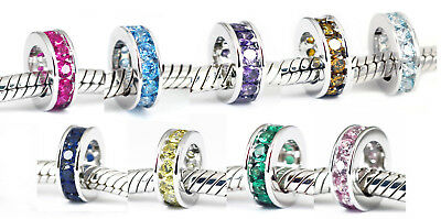 SOLID Sterling Silver Spacer BEAD w Colourful CZ Fit Charm Bracelet / Necklace
