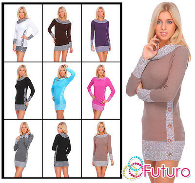 Womens Long Knitted Jumper Chunky Sweater Pullover Mini Dress Size 8-14 FR04