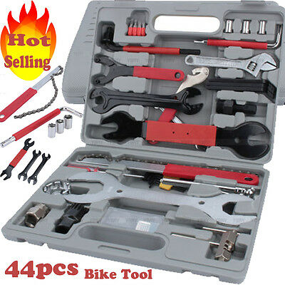 44PC Bike Cycling Bicycle Maintenance Repair Hand Wrench Tool Kit Set + Box Case