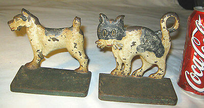 Antique Bradley & Hubbard Cast Iron Cat & Dog Whimsical Cartoon Art Bookends B&h