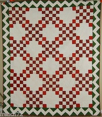 MUSEUM QUALITY, PRE CIVIL WAR Vintage Irish Chain Antique Quilt ~ZIGZAG BORDER!