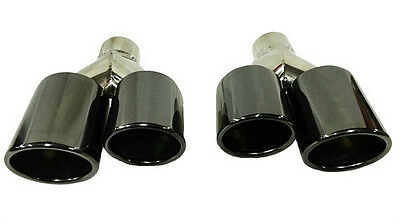Two Stainless Steel / Chrome Black Universal Dual Exhaust Tips Left And Right