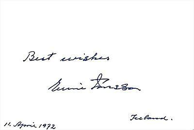 Prime Minister of Iceland Emil Jonsson- Signed Index Card